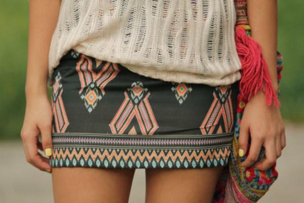 skirt inca print skrit inka aztec aztec black skirt short skirt tank top navajo aztec skirt etnic tribal pattern tribal pattern mini skirt tight colorful summer white orange lycraa