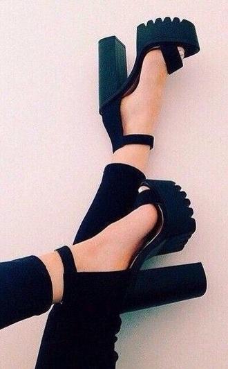 shoes black heels chunky heel black platform shoes