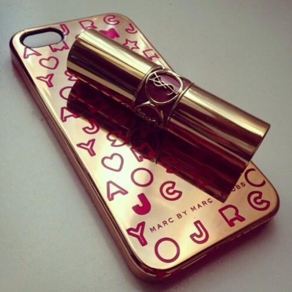 jewels iphone 5 case marc by marc jacobs ysl ysl lipstick funny phonecase iphone case iphone5 case iphone5s case marc jacobs gold burgundy red cute with ysl lipstick o
