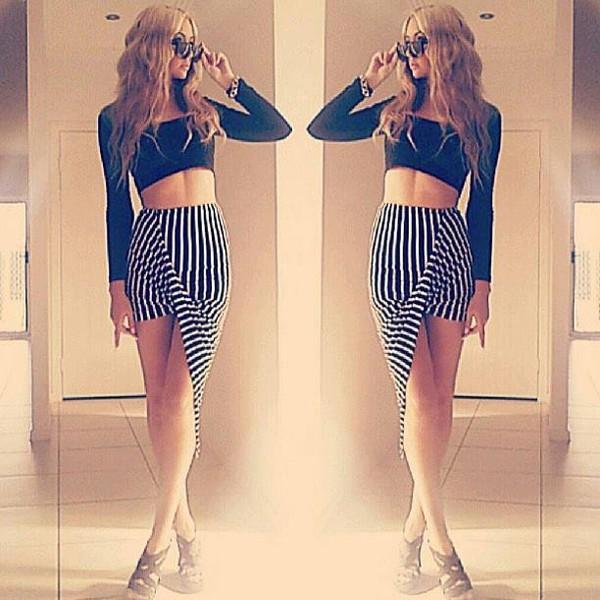 skirt stripes high low high waisted skirt high waisted black white stripe vertical stripes