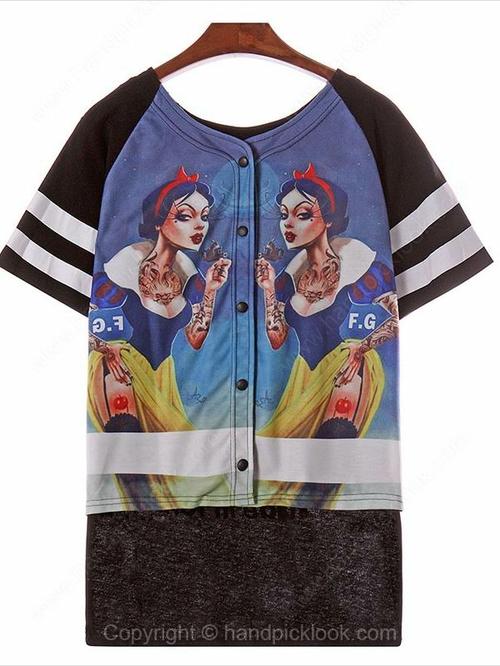 Black Short Sleeve English Letters & Snow White Print T-Shirt - HandpickLook.com