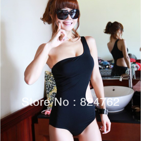 Sexy One Piece Bikini Swimsuit Black One Shoulder Swimwear Fashion Suit Free Shipping SL00104-in One Pieces from Apparel & Accessories on Aliexpress.com