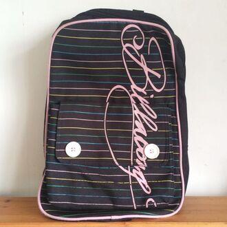 bag billabong bag pack stripes button backpack vintage