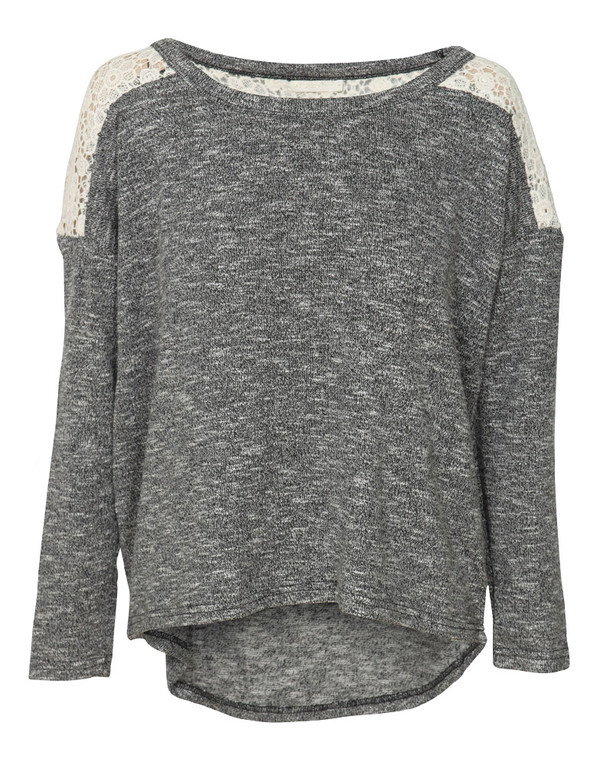 sweater sweatshirt grey sweater clothes clothes shirt lace white lace top