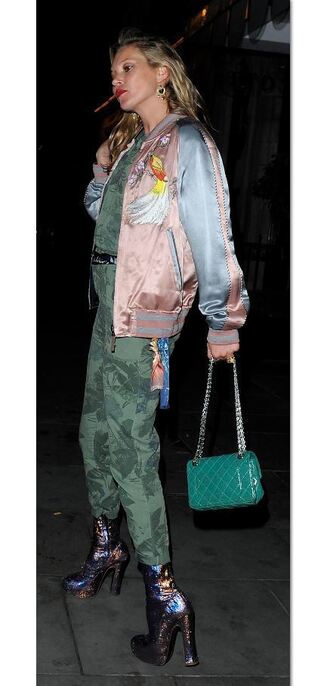 jacket bomber jacket kate moss sequins ankle boots jumpsuit camouflage