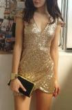 Gold Sequin Dress Mini Dresses - Juicy Wardrobe
