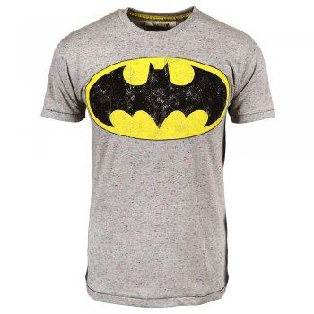 Mens Batman Logo Flec T Shirt Grey