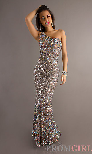 One Shoulder Open Back Sequin Dress, Scala Prom Gowns- PromGirl