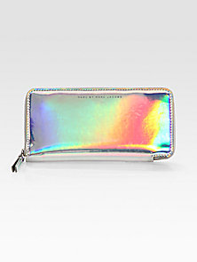 Marc by Marc Jacobs - Techno Holographic Leather Slim Zip-Around Wallet - Saks Fifth Avenue Mobile