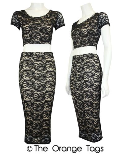 LADIES FLORAL LACED PENCIL SKIRT CROP TOP WOMENS BODYCON MIDI SKIRT TOP SUITE   eBay