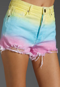 New Unif Guess What Cotton Candy Rainbow High Waisted Shorts XS 24 00 0 | eBay