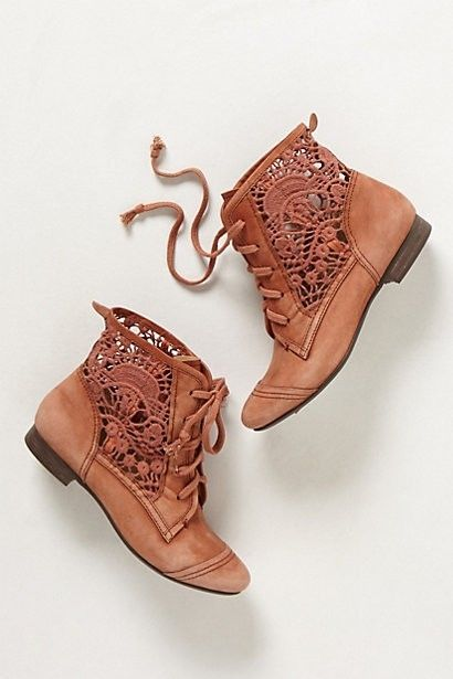 New Anthropologie Latigo Irene Lace Booties MSRP $128 Boots Military Lace Up | eBay