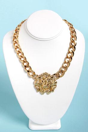 Fun Gold Necklace - Lion Necklace - Charm Necklace - $17.00