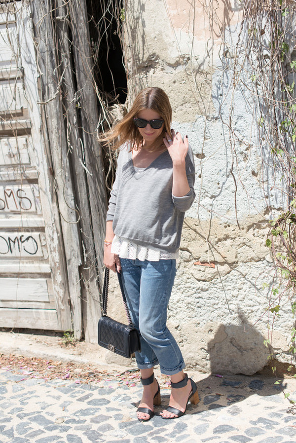 the working girl top sweater jeans shoes bag jewels sunglasses