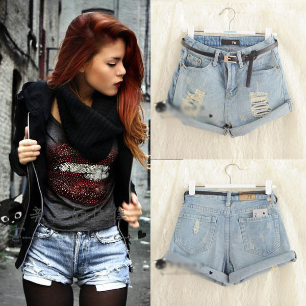 Fashion Womens Girls Vintage Denim High Waist Light Blue Jean Shorts Hot Pants   eBay