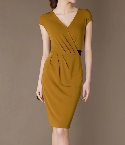 Yellowish New Elegant Noble Summer OL Slim V-neck Women Fashion Dress lml7041 - ott-123 - Global Online Shopping for Dresses