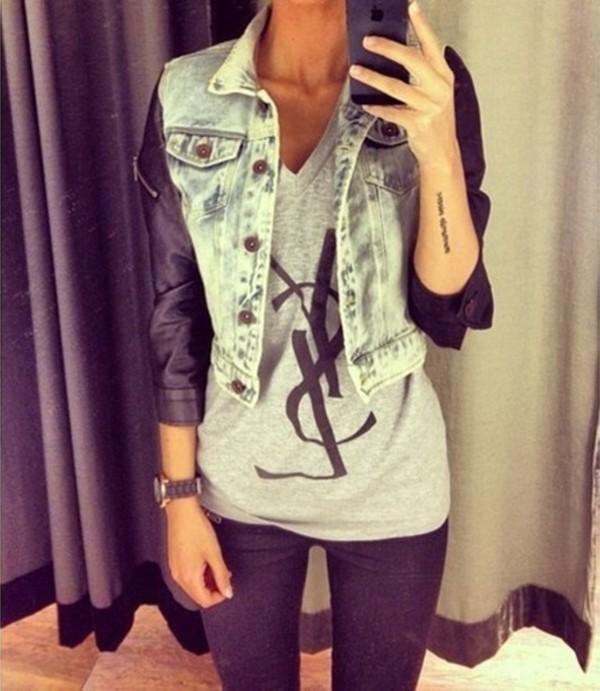 jacket t-shirt t-shirt gray grey black bland t-shirts denim jacket pants black leather jacket leather jacket