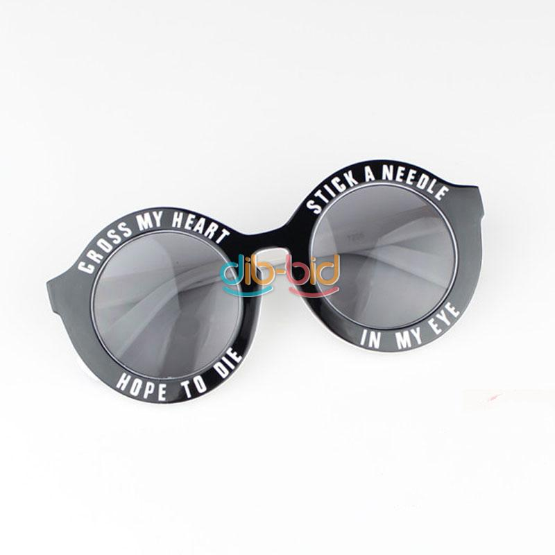 Chic Design Fashion Women Men Letter Slogan Retro Vintage Round Frame Sunglass | eBay