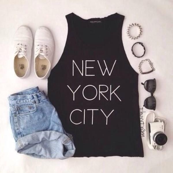 t-shirt black new york city denim white shoes sunglasses shorts jewels