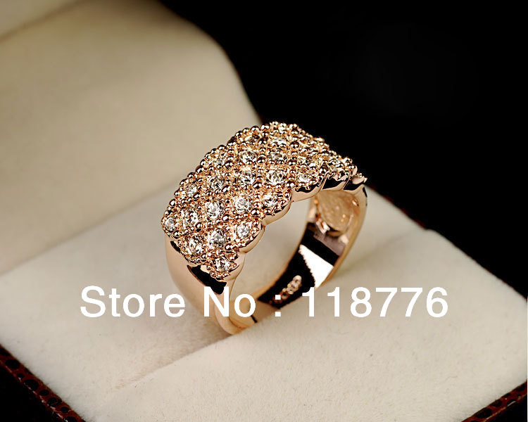 Free Shipping Italina Red Apple 18K Rose Gold Plated Full Crystal Rhinestone CZ Diamond with SWA Element Rings for Women-in Rings from Jewelry on Aliexpress.com