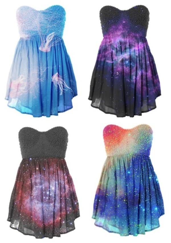 dress galaxy print rainbow beaded jellyfish stars sea creatures blue