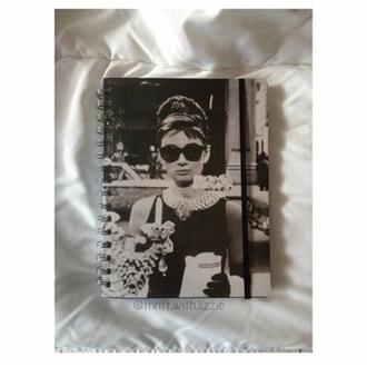 black and white notebook audrey hepburn