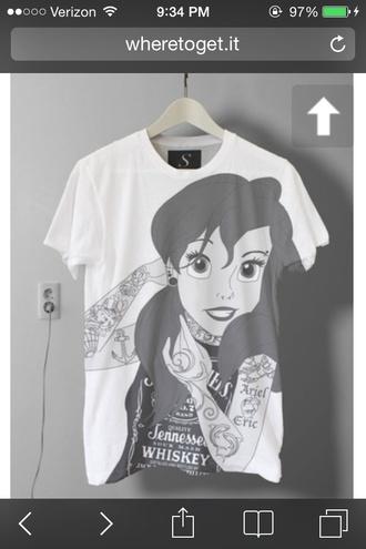 shirt the little mermaid punk t-shirt disney sweater disney disney princess disney punk black and white tshirt design