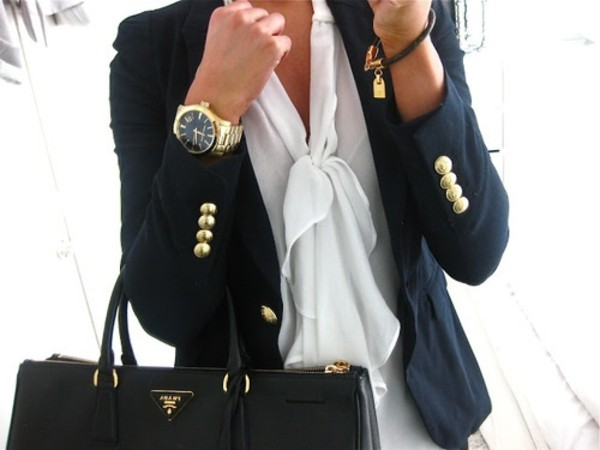blouse pussy blouse shirt top cream white fashion pussybow jewels cardigan bag jacket watch gold bracelets bowtie
