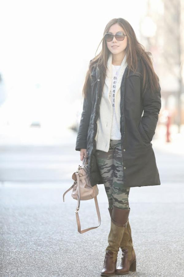 wearing fashion fluently t-shirt sweater coat pants shoes bag sunglasses