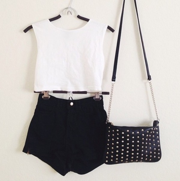 shorts clothes t-shirt bag high waisted tumblr shirt crop tops High waisted shorts studded purse tank top white t-shirt black shorts cute bag white black love  it blouse top short sweet sommer sunny lack white shirt tumblr shirt boho shirt tumblr outfit