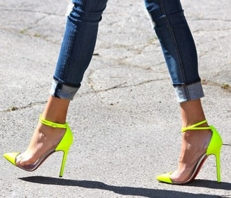 shoes neon high heels heels medium heels yellow neon yellow stilettos strap stilettos
