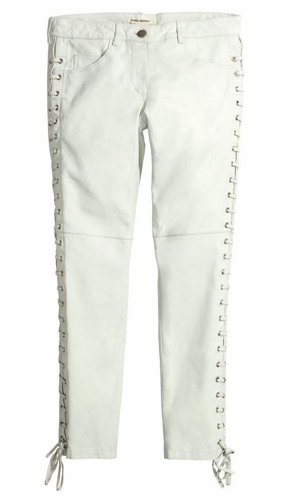 Isabel Marant H M HM Leather Lace Up Pants Trousers Size 6 White   eBay