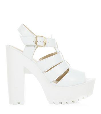 White Gladiator Block Heel Sandals