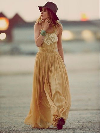 dress maxi dress yellow mustard dress pleated dress maxi long dress hat black hat spaghetti straps dress summer dress summer outfits boho dress boho