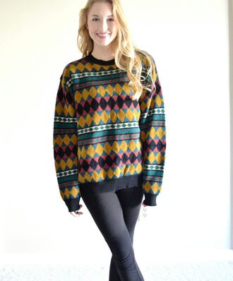 sweater colorful pattern loose fit sweater