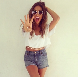 clothes pretty little liars emily fields sunglasses crop tops denim shorts shay mitchell summer outfits blouse tassel cropped white shorts dress summer