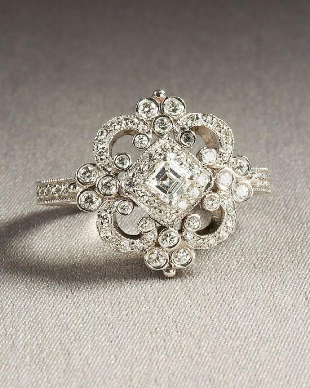 DUCHESS - Diamond Engagement Ring Or Right Hand Ring SEMI-MOUNT-14K White Gold - Weddings- Luxury- Brides - Art Deco - BP0011 #2056320 - Weddbook