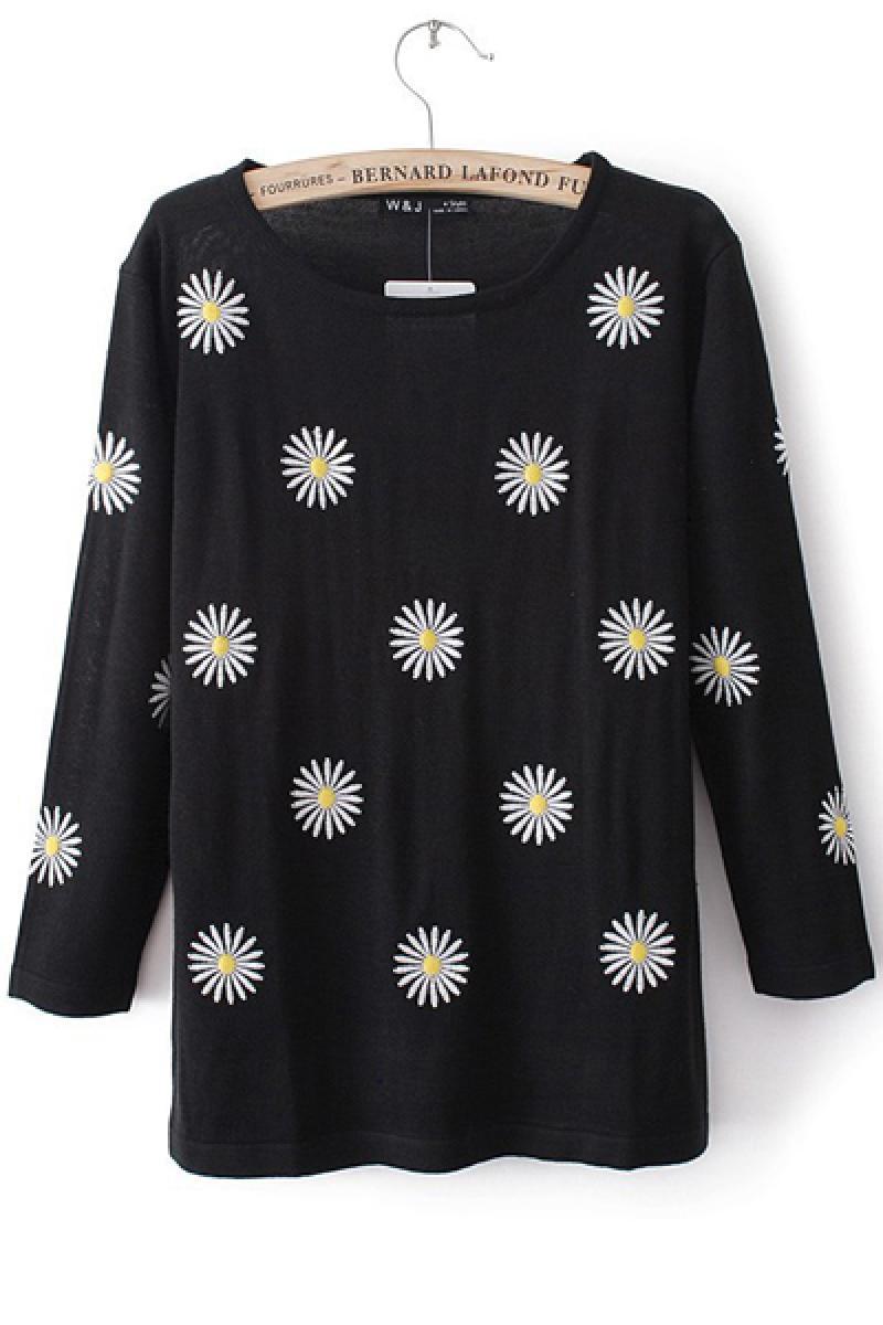 Sweet Circular Flowers Printing Knitwear,Cheap in Wendybox.com