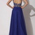 Royal Blue Chiffon Backless Elie Saab Evening Dress With Silver Crystals  - Juicy Wardrobe