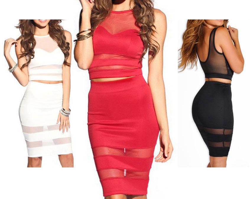 Mesh Cut Out Skirt and Top Set Bodycon Shadow Stripe Flare Slash Night Panel   eBay