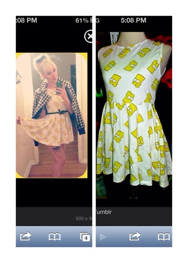 dress thesimpsons bart simpson barthead bart simpson white dress yellowhead yellow the simpsons