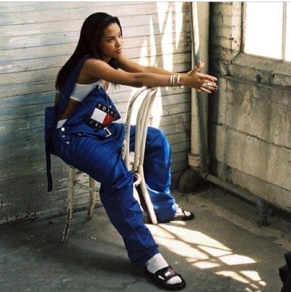 pants denim overalls tommy hilfiger aaliyah dope wishlist slide shoes jumpsuit blue slide shoes overalls jeans tommy hilfiger overalls denim overalls