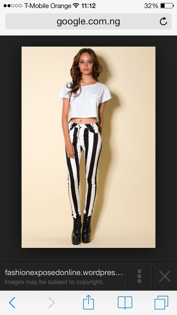 jeans black and white stripes white and black striped robin thicke blurred lines cotton fashion print