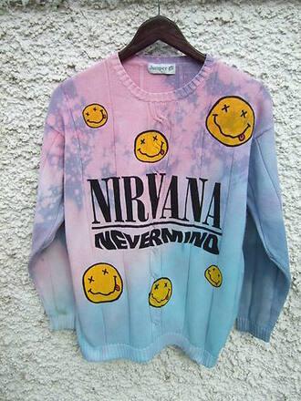 nirvana jumper pastel goth nevermind dye sweater