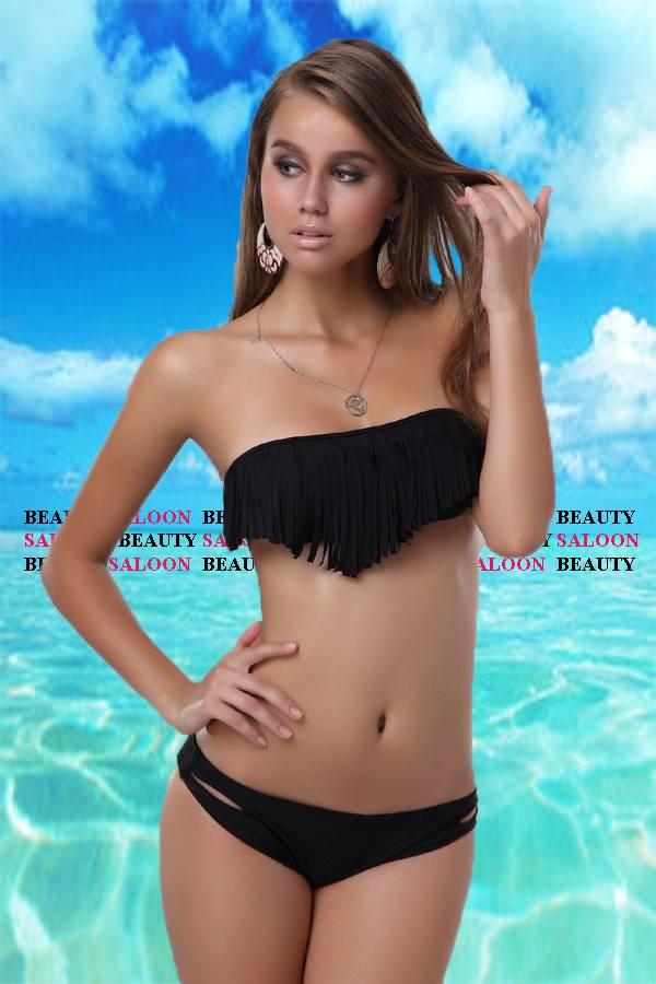 ♥ Bikini Bandeau A Franges Maillot DE Bain 2 Pièces♥sexy♥s M L♥frange♥push UP♥ | eBay