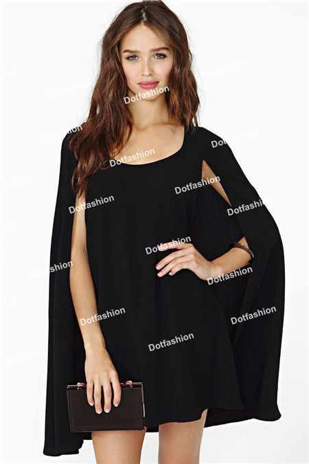 2014 Spring/Summer New Novelty Style Sexy Women's Clothing Fashion Round Neck Cape Celebrity Party Chiffon Short Mini Dress-in Dresses from Apparel & Accessories on Aliexpress.com