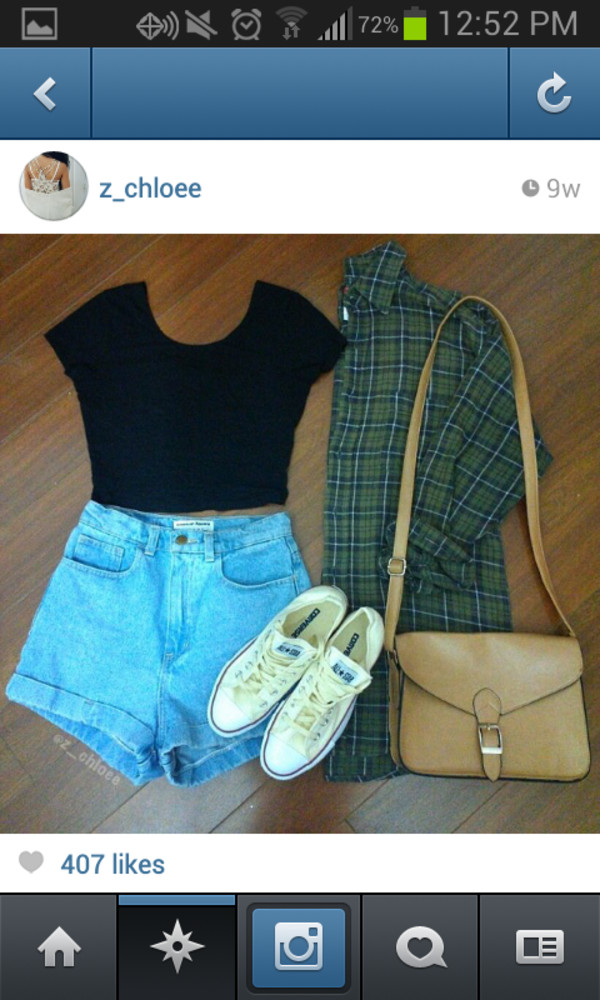 shorts plaid shirt crop tops High waisted shorts shoulder bag jacket shirt t-shirt bag