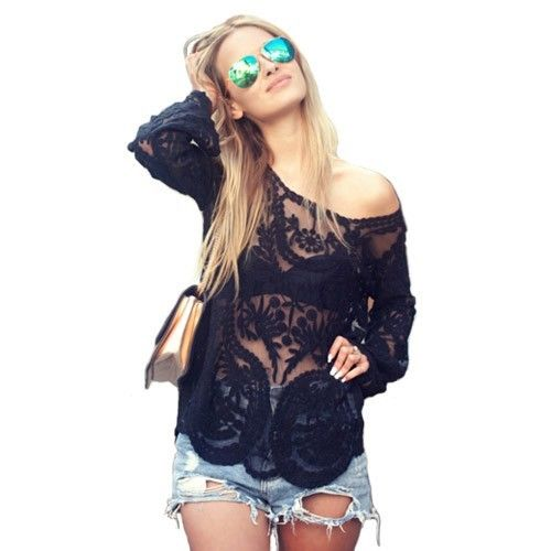 Womens Lace Dentelle Crochet Semi Sexy Sheer Embroidery Floral T Shirt Tops J | eBay