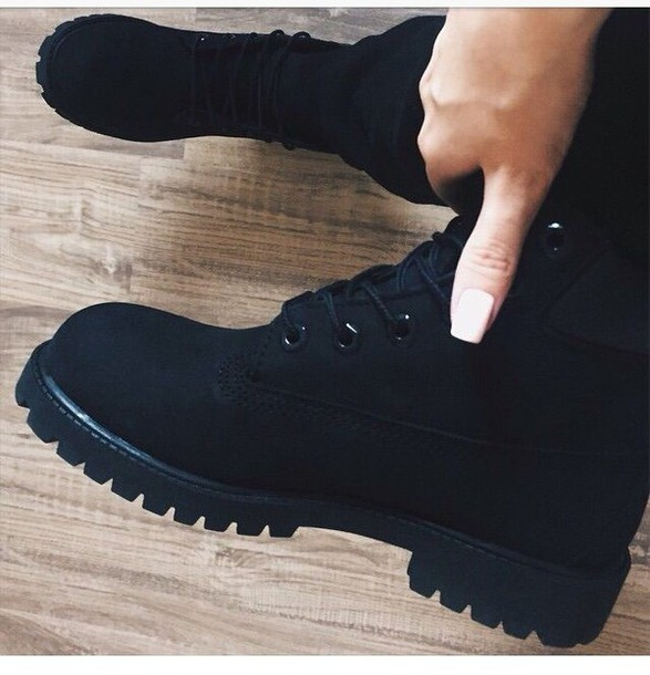 shoes boots black rugged boots with laces timberlands timberlands boots