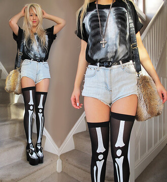 shirt x ray t-shirt skeleton tights black creepers faux fur purse cross skeleton x ray shirt chest x-ray high waisted shorts cross necklace